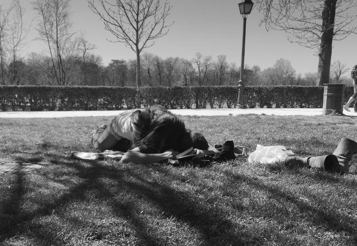Woman lying on her boyfriend.