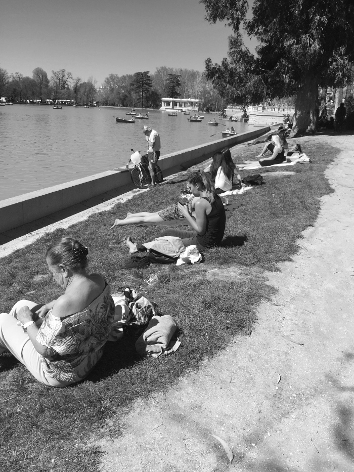 Women sunning themselves.